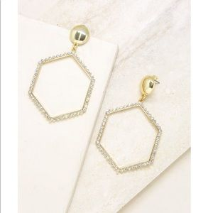 Ettika gold plated hexagon crystal hoops